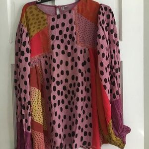 BLANK LONDON Pink Motif Shira Peasant Blouse